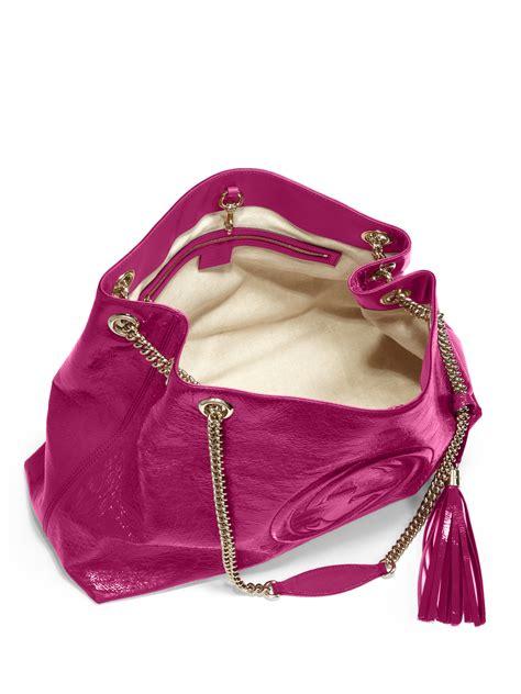Garucci Bag Pink 2 gucci soho patent leather shoulder bag in pink lyst