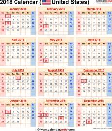 Us Holidays 2018 Calendar 2018 Calendar With Federal Holidays Excel Pdf Word Templates