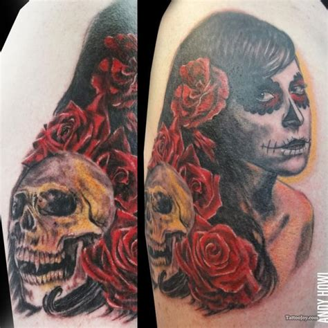 day of the dead roses skull tattoo design