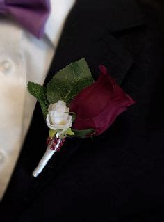 Rosebud Satin Mini burgundy white roses pinon corsage wedding bridal by