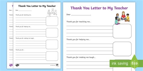 End Of Year Thank You Letter To My Teachers Worksheet Activity Thank You Letter Template Twinkl