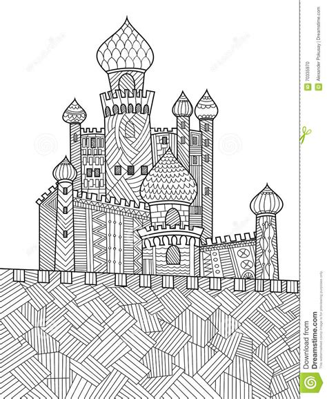 coloring castle mandala pages castle coloring book for adults vector stock