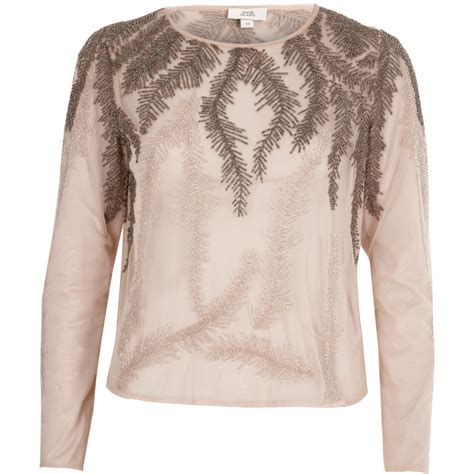 Sleeve Embroidered pink feather embroidered sleeve top blouses tops