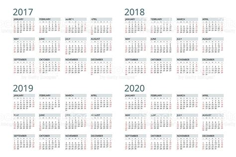 2018 And 2019 Calendar Calendar For 2017 2018 2019 2020 Stock Vector
