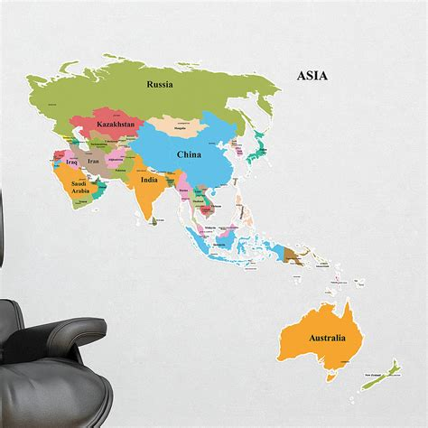 asia and australia map map of asia australia wall stickers by the binary box