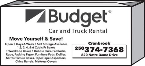 Budget Car Rental Port Alberni by Budget Car Truck Rentals 820 Notre Dame Dr Kamloops Bc