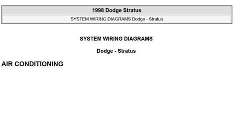 Dodge Stratus 1998 System Wiring Diagrams Pdf Online