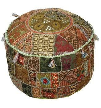 living room pouf embroidered fabric gold large indian fabric vintage indian handmade pure fabric embroidered patchwork