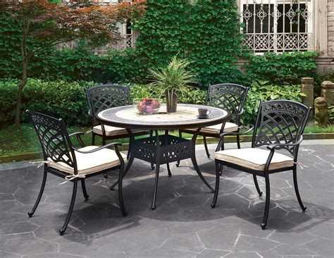 5 pc dining table set sanibel casual 5 pc outdoor 49 quot dining table set in