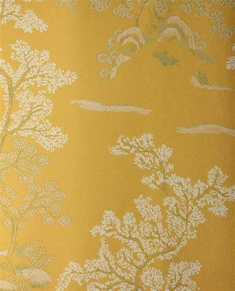 design house skyline yellow motif wallpaper oriental tree wallpaper yellow wallpaper with white and