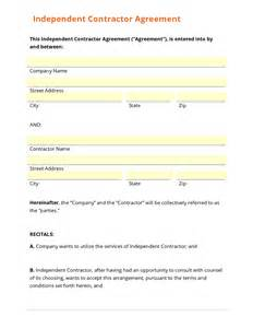 contractor agreement template free business form template gallery