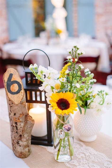 Sunflower Centerpiece in Glass Milk Bottle   Sunflowers in