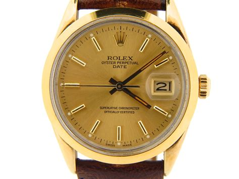 mens rolex 14k yellow gold shell date w gold