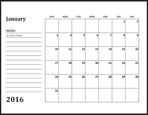 free downloadable 2016 calendar template calendar