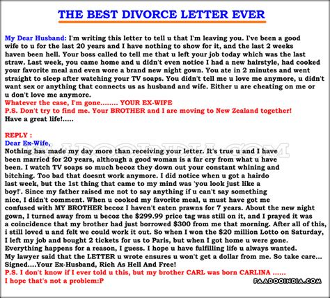Best Divorce Letter Quotes About Ex Humor Quotesgram