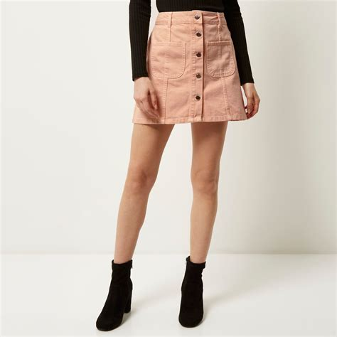 river island pink denim button up a line skirt in pink lyst