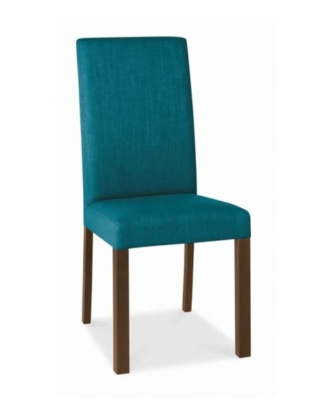 Bentley Designs Parker Walnut Square Back Teal Teal Upholstered Dining Chairs