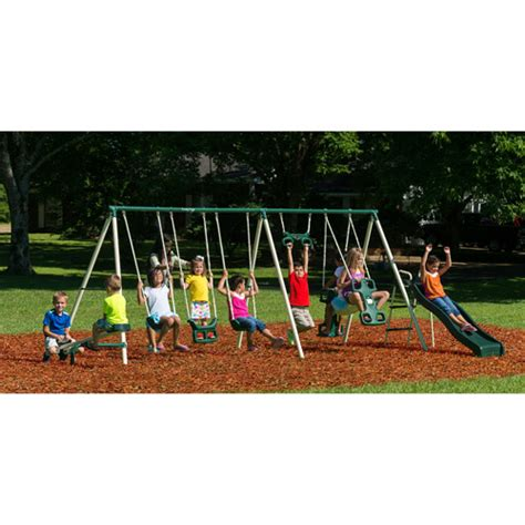 swing set big w flexible flyer big adventure metal swing set walmart com