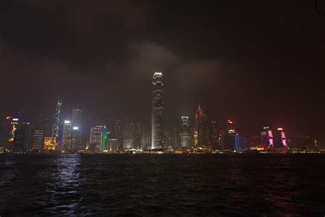 hong kong light hong kong light and laser at harbour gate