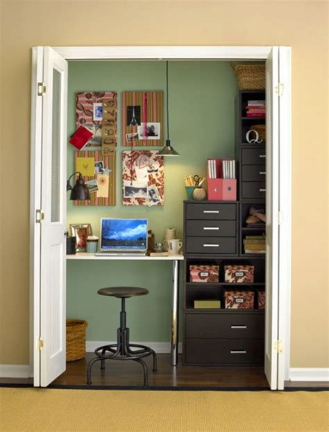 closet office 20 cool and stylish home office in a closet ideas home