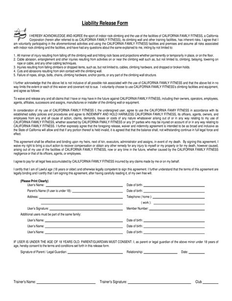 release of liability agreement template free liability waiver form template