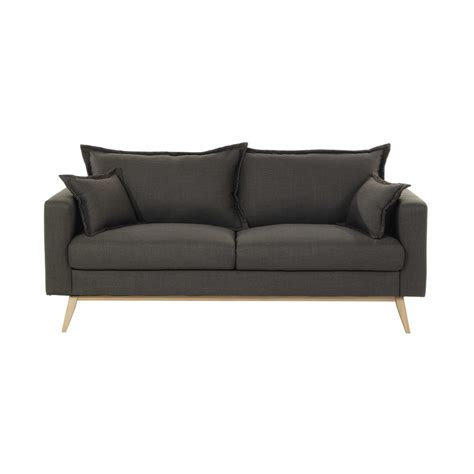 grey fabric sofas 3 seater fabric sofa in grey brown duke maisons du monde
