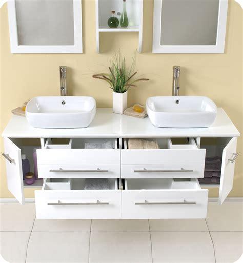Fresca bellezza white modern double vessel sink bathroom