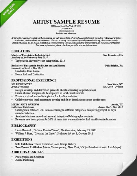 artistic resume templates artist resume sle writing guide resume genius