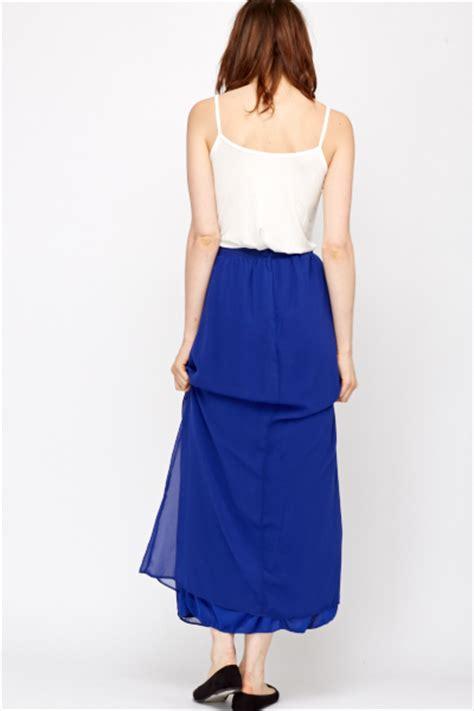 sheer overlay royal blue maxi skirt just 163 5