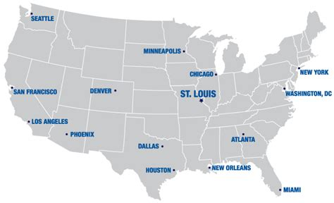 map of the united states st louis maps of united states of america with major cities