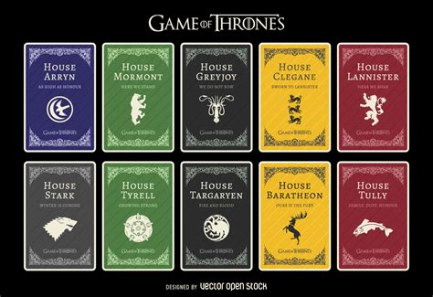 houses in game of thrones game of thrones houses vector download