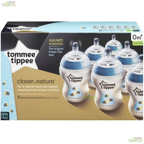 Tommee Tippee Closer To Nature 260ml Bottles 1 Pack With Nature 1 tommee tippee closer to nature 260ml blue decorated baby feeding bottles 6 pack 163 17 37