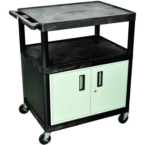 luxor cart with locking cabinet luxor utility cart with locking cabinet 400 lb capacity