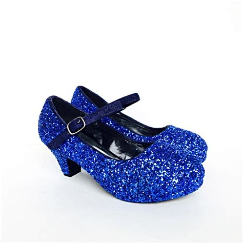 royal blue flower shoes toddler glitter shoes blue toddler heel royal