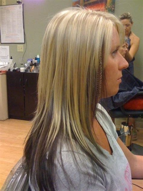 dark hair underneath with blonde highlights on top highlights with lowlights underneath best 25 partial