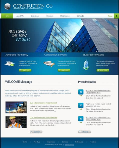 templates for construction website construction company website template 25195