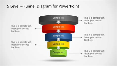 sales funnel template powerpoint 5 level funnel diagram template for powerpoint slidemodel