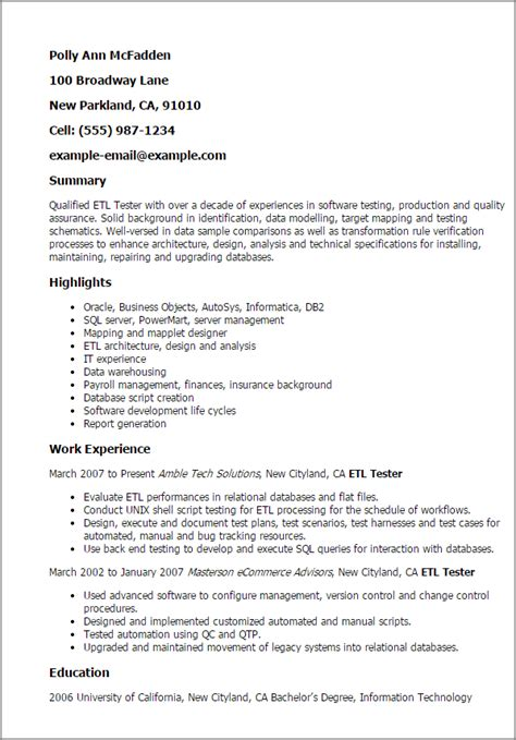Etl Testing Resume Points by Etl Testing Resume Sles Photos Resume Ideas