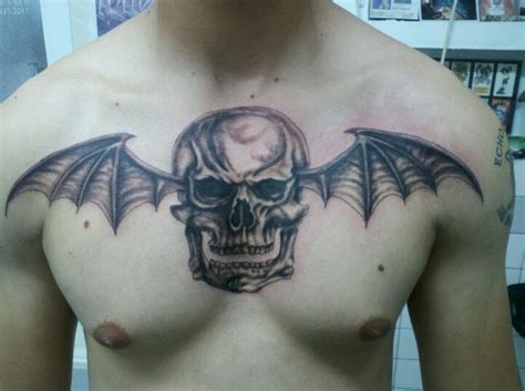 avenged sevenfold tattoos avenged sevenfold deathbat logo i did tonight