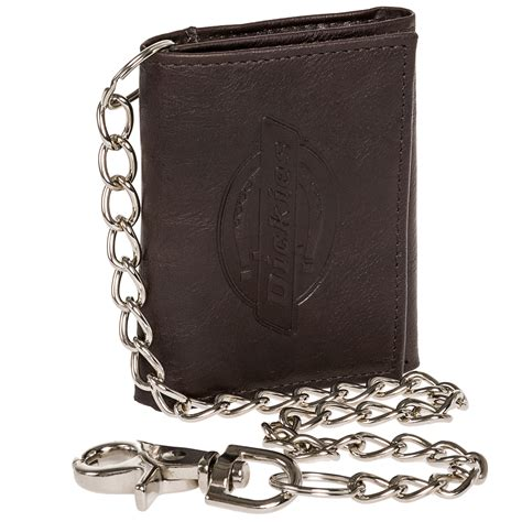 dickies new mens leather logo embossed id trifold wallet w