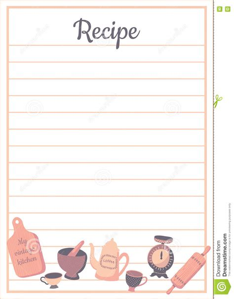 free thanksgiving recipe card template 食谱卡片vert 向量例证 图片 72367472