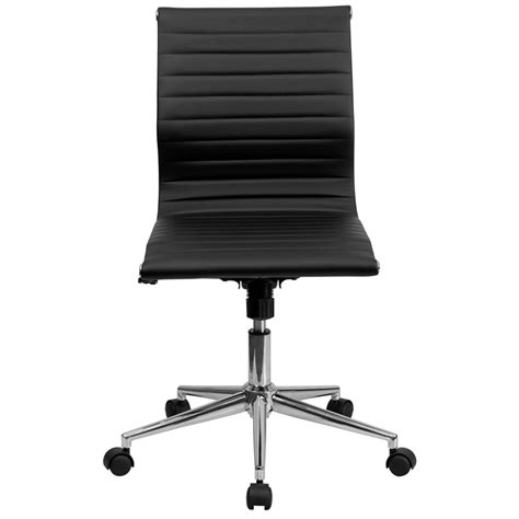 armless leather desk chair black leather conference executive computer office desk