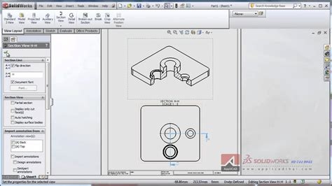iso section section 3d iso view in drawing solidworks youtube