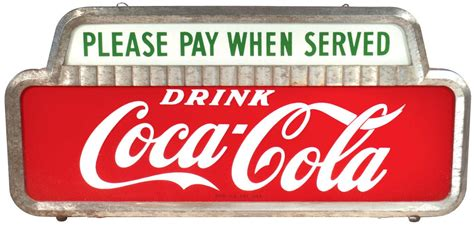 coca cola light up sign coca cola light up sign quot please pay when served quot