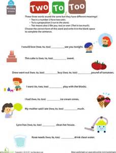 get into grammar to two too worksheet education com
