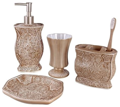 Victoria 4 Piece Bath Accessory Set Contemporary Bathroom Accessories Sets
