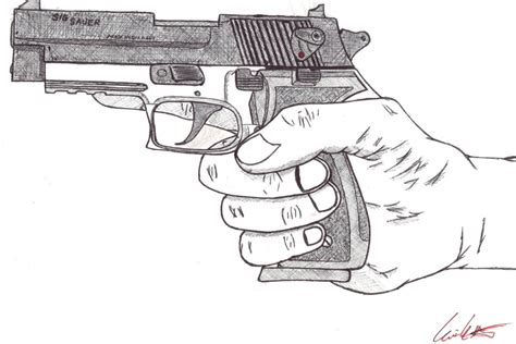 9mm Drawing by Shotgun 9mm Pistol Pencil And In Color