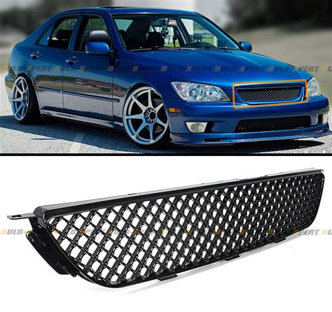 vip glossy black front 3d honeycome mesh grill grille for 01 05 lexus is300
