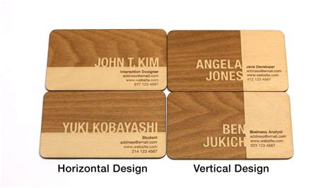 creative names for woodworking business engraved wooden business cards let you stand out from the