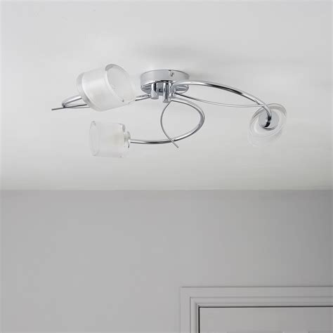 ferro spiral chrome effect 3 l ceiling light diy at b